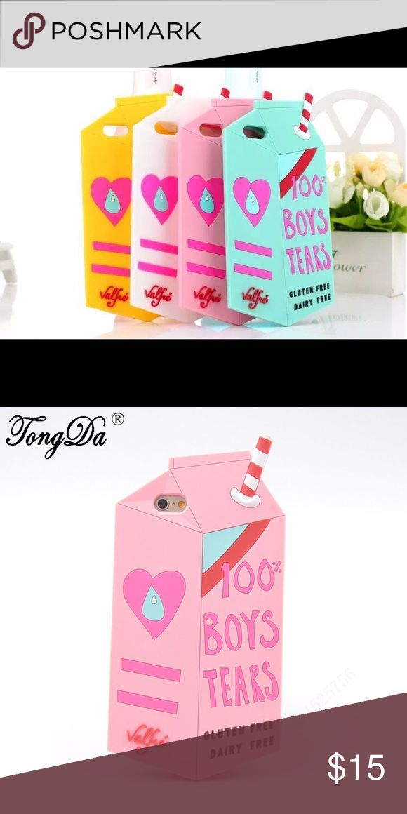 "Pink milk carton ""Boy Tears"" silicone phone case Very cute! New! phone case Accessories Laptop Cases"