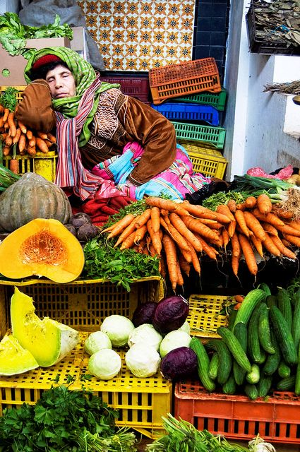 A farmers market vendor in Tunisia. A long days work for any farmer worldwide. Let's support our vendors at all markets this summer!
