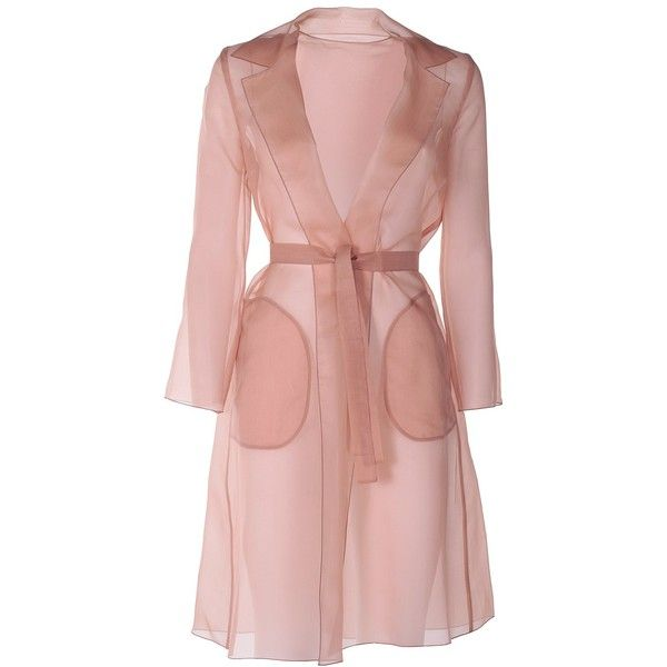 Max Mara  Cecilia Silk-Gazar Coat ($480) ❤ liked on Polyvore featuring outerwear, coats, marrone, maxmara, silk coat and maxmara coat