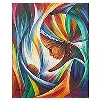 Original Signed Mother and Child Painting in Rainbow Colors, 'Mother with Baby'