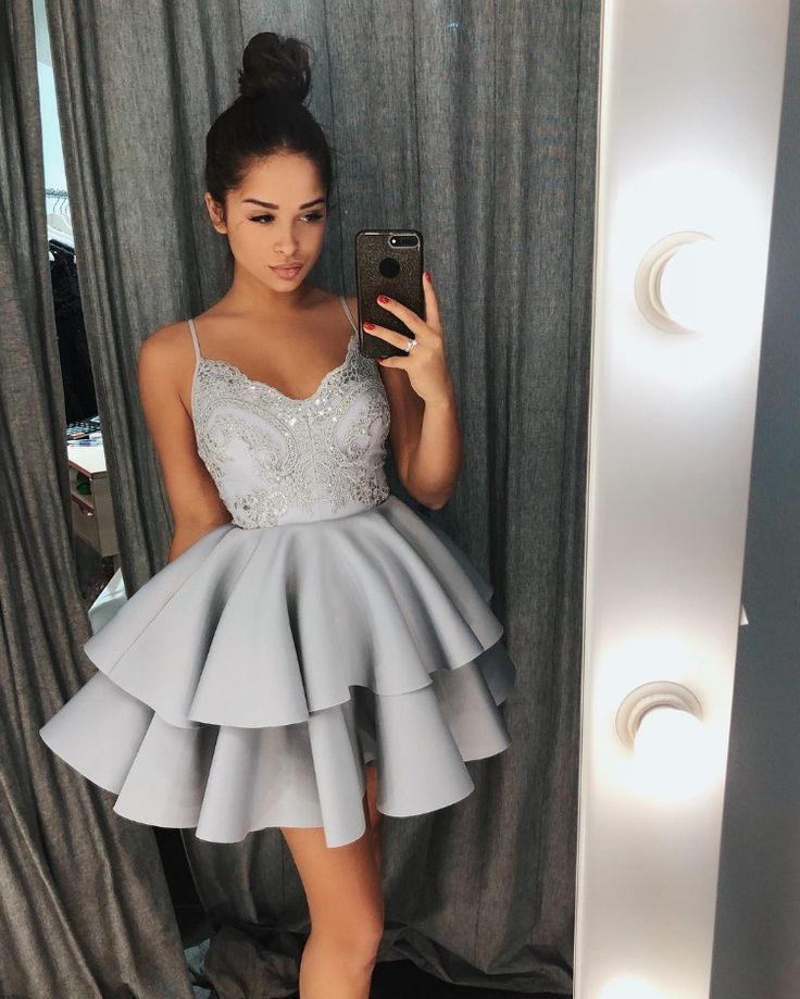 Beautiful Gray Homecoming Dress Short Lovely A-Line Spaghetti Straps Satin Short