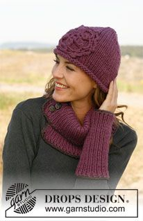 "Knitted DROPS neck warmer, wrist warmers and hat with crochet edges in ""Andes"". ~ DROPS Design(#6 weight yarn)"