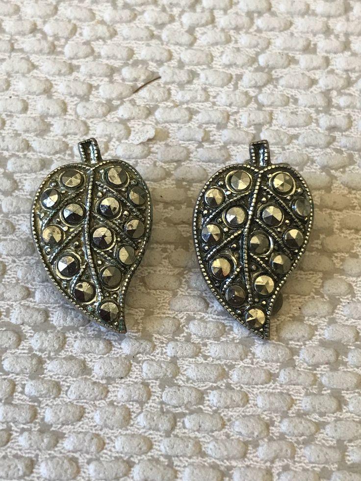 Vintage Marcasite clip on earrings in leaf design https://www.etsy.com/uk/listing/584211184/vintage-marcasite-clip-on-earrings-in