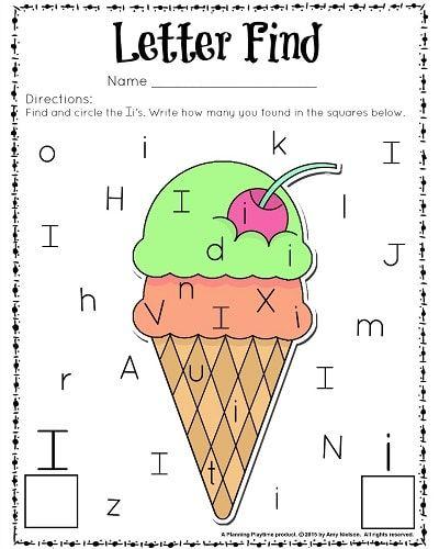 Adorable letter find worksheets for preschool or kindergarten - Letter I