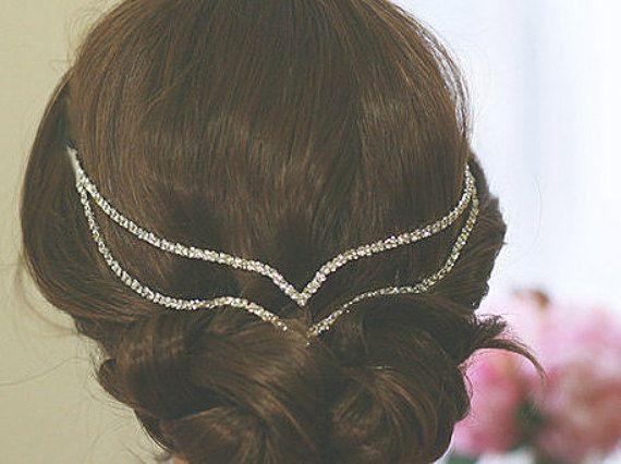 Bohemian Crystal haarjuwelen | Bruiloft hoofd ketting | Art Deco haartoebehoren | Bruids haarjuwelen | Bruids haar stuk || Boho haren