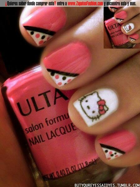 Kitty diseño de uñas