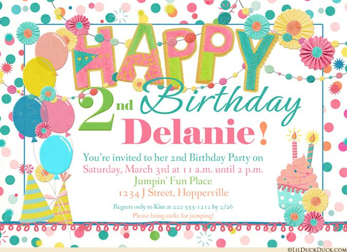 Joyous delight abounds on these bright spring happy birthday invitations! Sweet girly colors, polka dots, flowers, party hats, balloons and cupcakes gather around your unique text to join the fun.