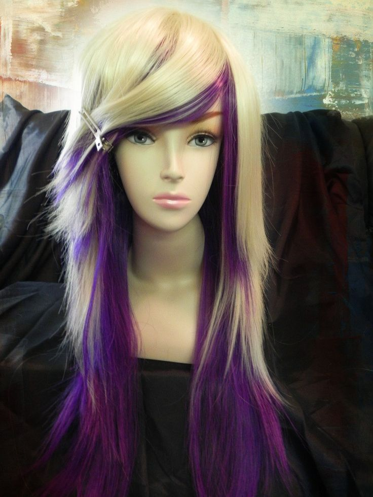ON SALE Purple And Blonde Long Straight Layered Wig By