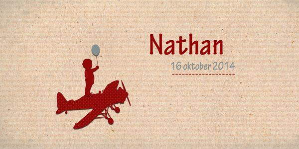 Geboortekaartje jongen - Nathan - jongentje op vliegtuig - Pimpelpluis - https://www.facebook.com/pages/Pimpelpluis/188675421305550?ref=hl (# simpel - eenvoudig - retro - naam - ventje - ballon - silhouet - kindje - vliegtuig - origineel)