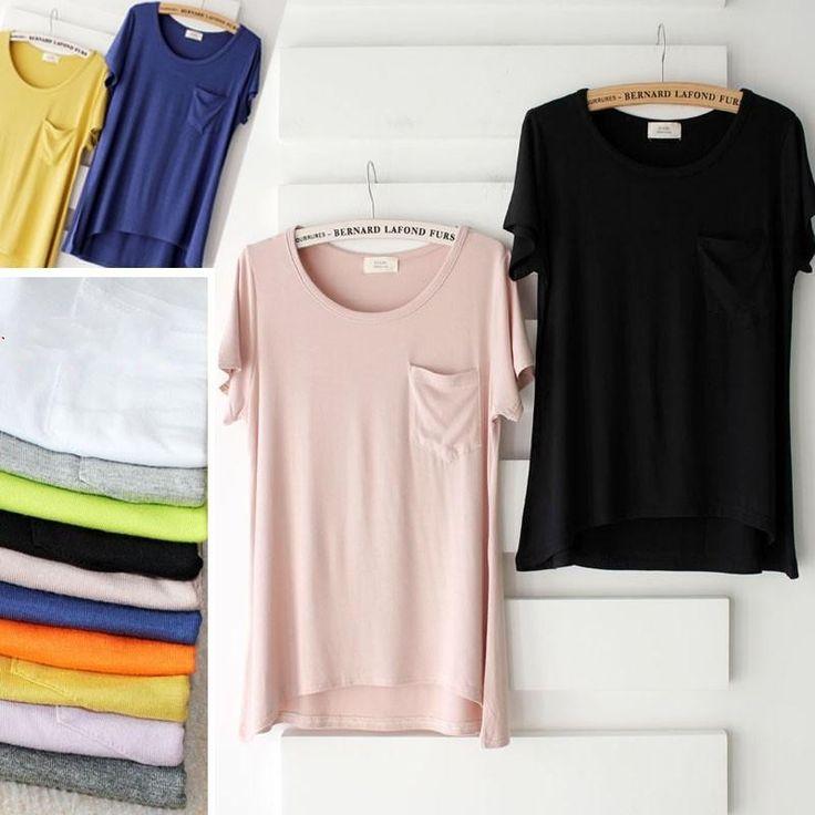 explosion High Elasticity models female candy color cotton t-shirt solid color modal Pocket t-shirt women summer