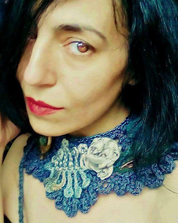Artsy necklace blue color flower power steampunk by zestria