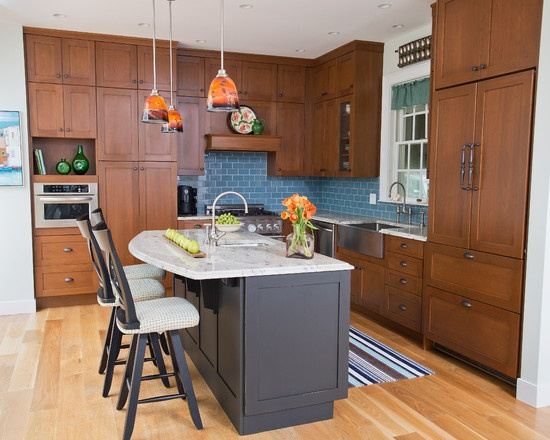 Country Kitchen Transitional Traditional Cherry Cabinets Blue Tile