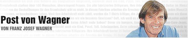 Post von Wagner: Liebe Mächtige - Ihr Mächtigen seid eine kluge Elite. Ihr habt alle Abitur, seid alle Juristen, bis auf Frau Merkel, die Physikerin ist. Ihr Mächtigen seid alle hochintelligent.  Aber habt Ihr auch ein Herz?  Die Frage ist, ob Klugheit oder ein mitfühlendes Herz die Welt retten kann? http://www.bild.de/news/standards/franz-josef-wagner/liebe-maechtige-39700412.bild.html