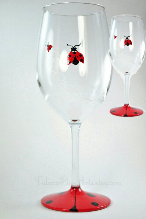 Hey, I found this really awesome Etsy listing at https://www.etsy.com/listing/205339693/hand-painted-ladybug-wine-glasses-hand
