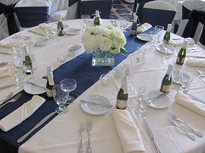 Table Set Up Navy Blue And White With Mini Champagne