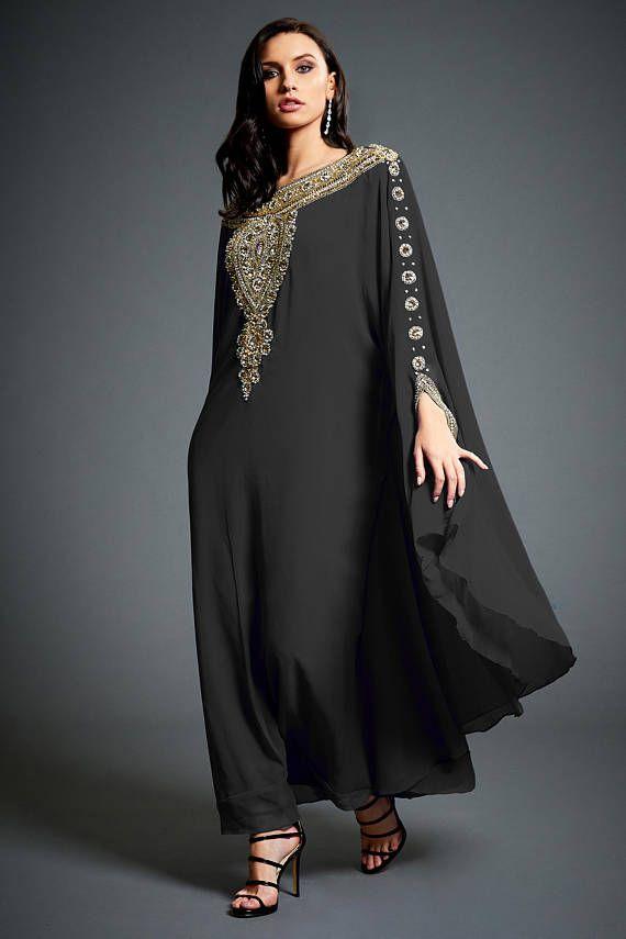 4dabcccd37 Amina Moroccan Abaya Caftan, Gold Beaded Kaftan Dress, Kaftan Maxi ...