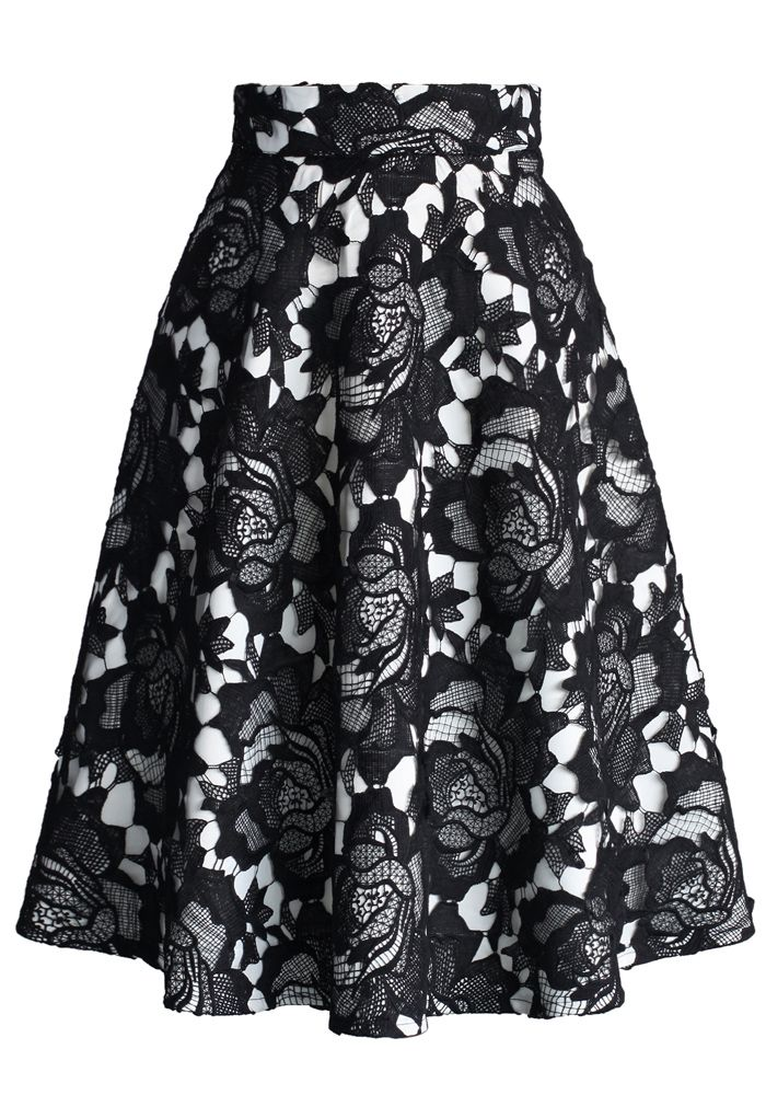 My Dear Roses Lace A-line Midi Skirt in Black - Retro, Indie and Unique Fashion