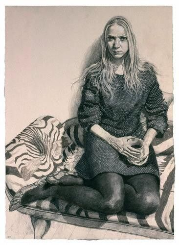 Nathalie Press  by Stuart Pearson Wright  pencil, wash and white heightening, 2005-2006