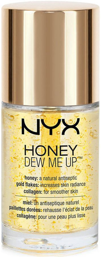NYX Professional Makeup Honey Dew Me Up Primer: Neutralizes the appearance of discoloration and redness - Preps and primes face for makeup application - This primer is loaded with beneficial ingredients for your skin, honey is a natural antiseptic, while the gold flecks increase skin radiance, and collagen strengthens skin