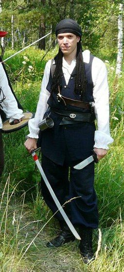 """History costume design. For LARP Game - """"The Pirates: Gold of Flint"""". Genre historycal game. Character - Tom -  pirate man."""