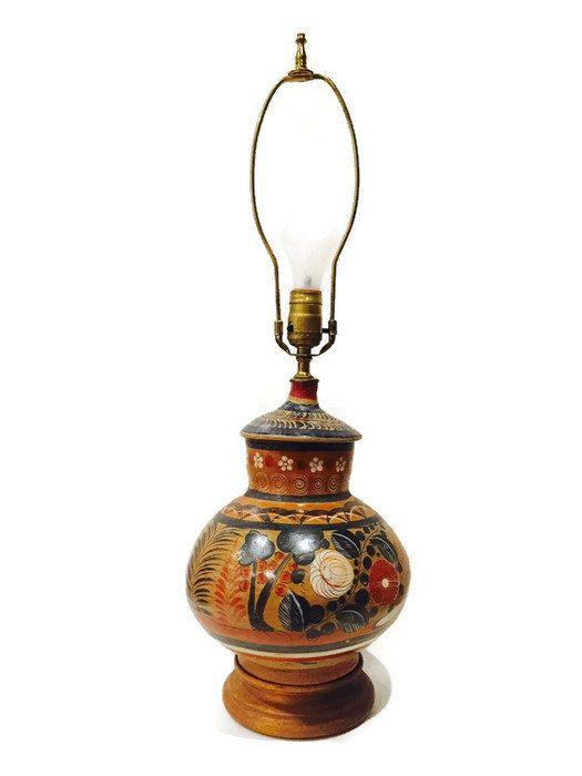 Mid Century Mexican Pottery Lamp Bohemian Desk Lamp Tonala Hand Painted Pottery Southwestern Rustic Terra-Cotta Pottery Lamp Mexico