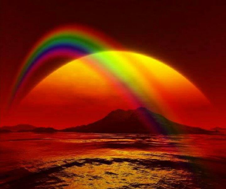Sunset with a rainbow