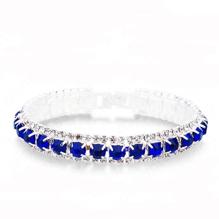 Vintage Inspired Sapphire Blue Rhinestone Crystal Line Bracelet  (Sparkle-2668)…