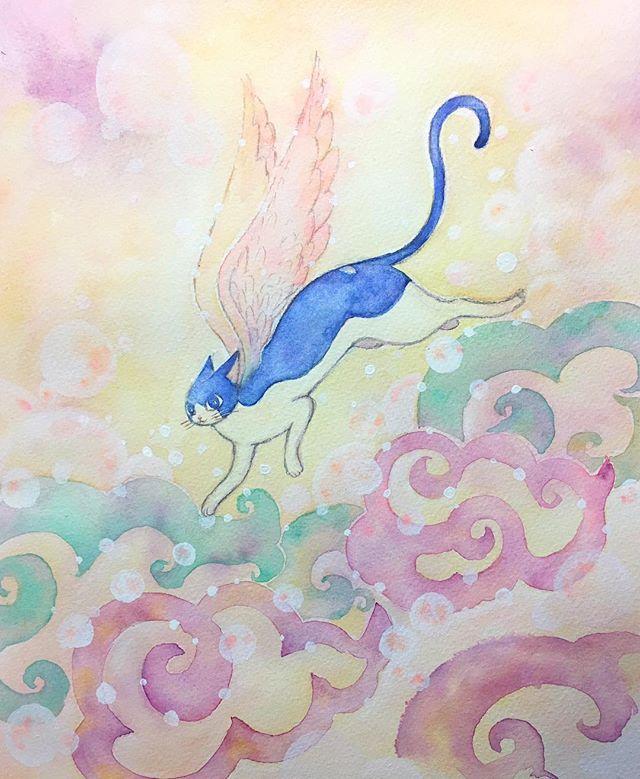 年賀状が間に合わなくて、寒中見舞になりそうです。今年最初のタマ絵。戌年ですがあえてタマで(o^^o) 【かぎしっぽのタマ、希望あふれる空を翔ける】  #イラスト #イラストレーション #illustration #art #水彩画 #watercolor #cat #猫 #寒中お見舞い #かぎしっぽのタマ #もとp #luckycat #招き猫fukudamotoko2018/01/03 18:53:06