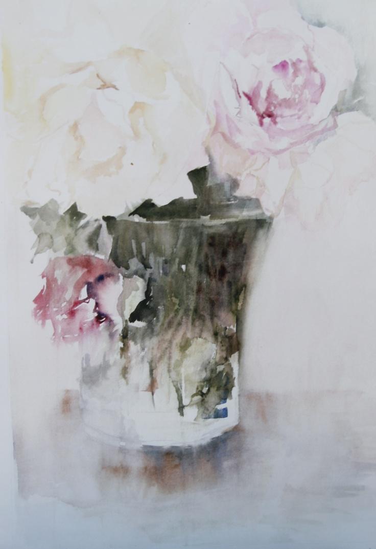 Vase with roses / Jarrón con rosas - Watercolour / Acuarela