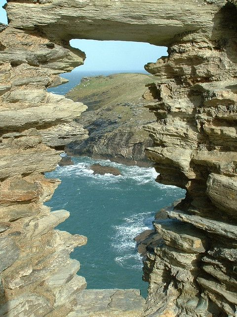 View from Tintagel Castle ruins. Cornwall, South West England, UK