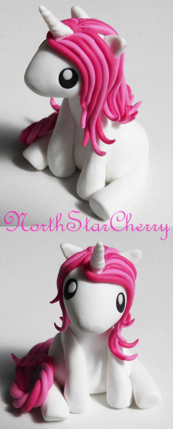 I ended up making a few little unicorns but this one is definitely my favourite <3 It was really difficult keeping dust off the white clay though Oo about 2 inches tall Edit: uploaded a better p...