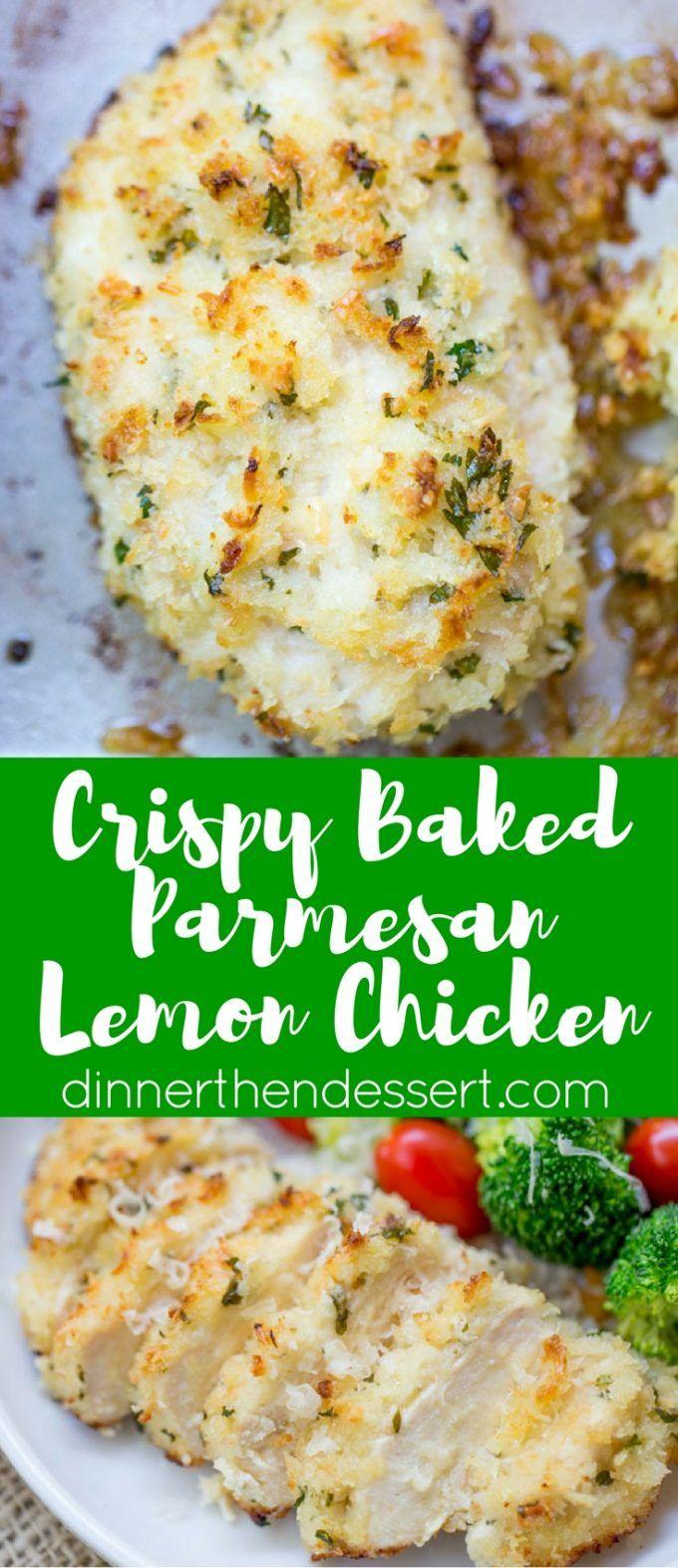 Crispy Baked Lemon Parmesan Chicken with fresh lemon, butter, garlic and…