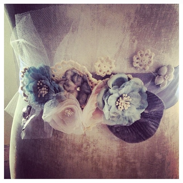 Petal and Pip hand made lilac silk bridal sash, with hand made flower, millinery flower, leaf, crystal, lace, and tulle detail. $160NZD.