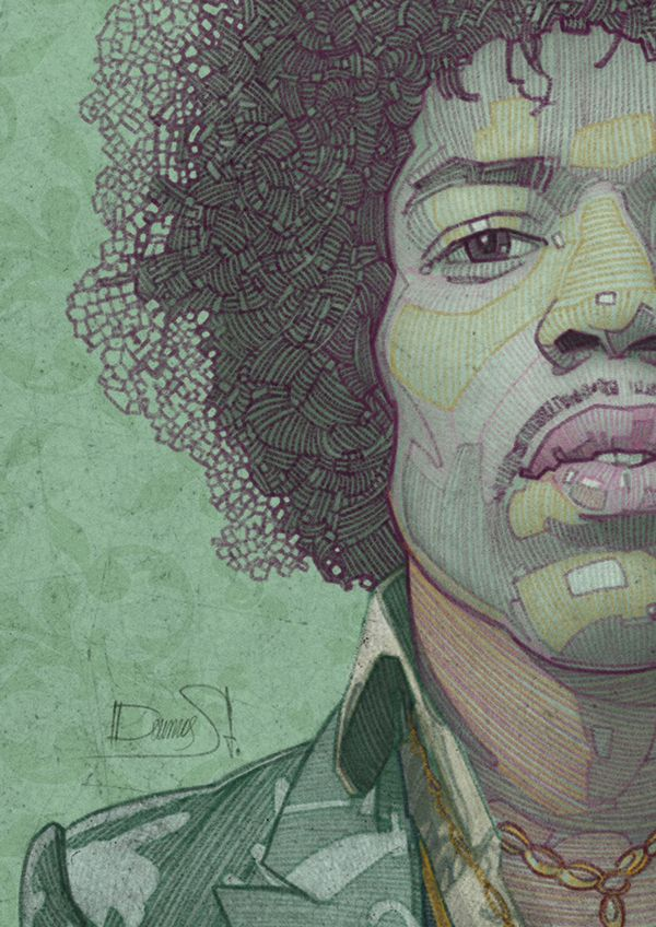 The Legendary Jimi Hendrix on Behance Amazing line drawing and the color pallette excelent!!