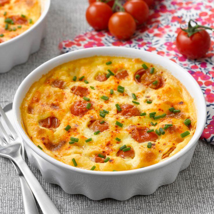 Découvrez la recette du clafoutis feta et tomates cerises