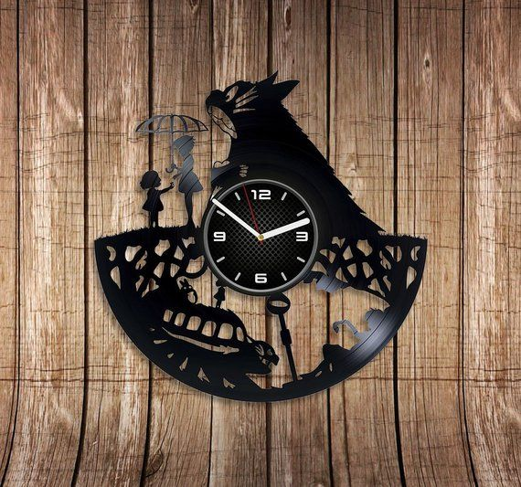 Catbus Wall Clock Cartoon Art My Neighbor Totoro Vinyl Record Wall Clock My Neighbor Totoro Wall Clock 12 Inch Christmas Gi Wall Clock Clock Wall Clock Cartoon