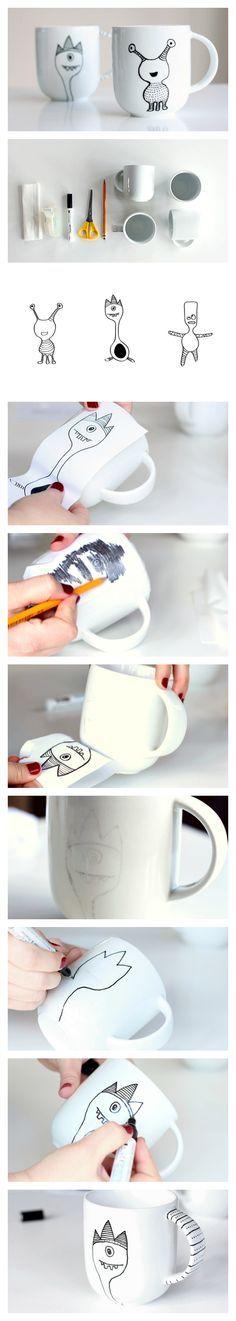 Individuelle Tassen gestalten: Ein Bild mit einem weichem Bleistift auf ein…