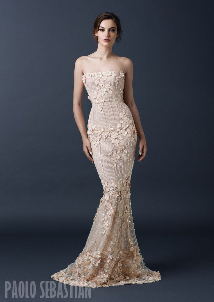 PSAW1505 Beaded column dress with scattered floral embellishment