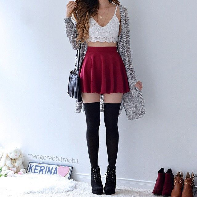 # cute lace strap crop top # paired with red skirt