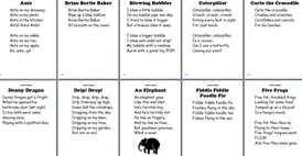 Alphabet Anthology - short rhymes/poems for each letter of the alphabet - great for young kids to take home in a 'rhyme book' to read with families each night along with reading at home books.