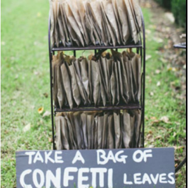 Cute idea instead of rice or bubbles. love this idea or even a bag of rose pedals
