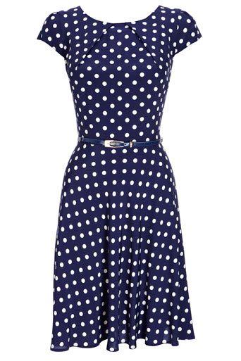 navy polkadot dress