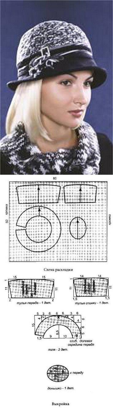 Шляпка с полями • ткань: при ширине 90 см — 50 см; • клеевой флизелин; • тесьма или косая бейка шириной 2 см и длиной 70—80 см.Раскрой. Все детали выкраиваются с припусками на швы 0,7 см. 1. Тулья переда — 1 деталь. 2. Тулья спинки — 1 деталь. 3. Поля — 2 детали со сгибом. 4. Донышко — 1 деталь. Совет: шляпку можно сделать с подкладкой из тонкой подкладочной ткани. Детали подкладки выкраиваются по косой линии