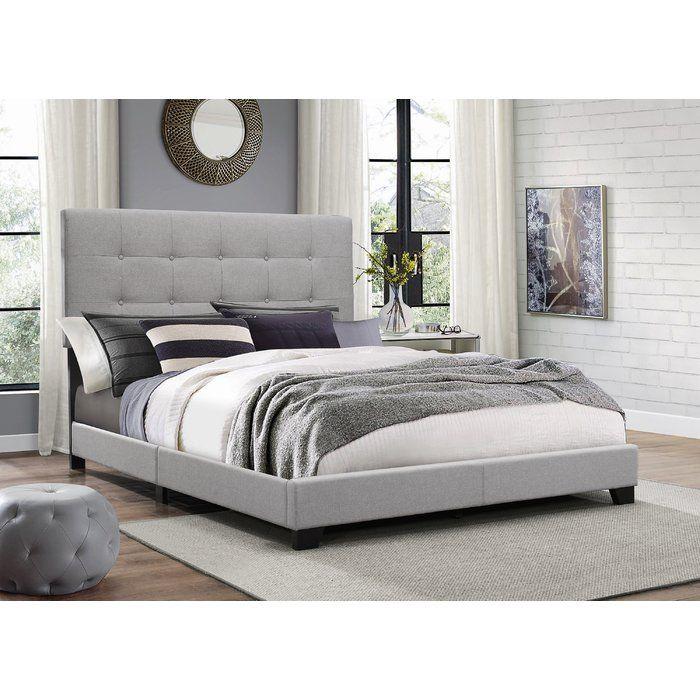 Janicki Upholstered Panel Bed Grey Bed Frame Grey Upholstered Bed Upholstered Panel Bed