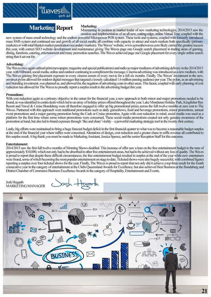 Annual Report Page 21 (Marketing Manager's Report). Would you like a design like this for your business? Email: art3sian@gmail.com