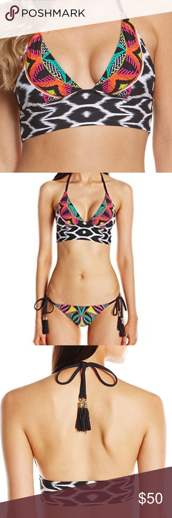 Trina Turk Africana Crop Triangle Bikini Swim Top This playful crop top from Trina Turk features a collage of color-packed beadwork print and black-and-white ikat patterns.  The long-line silhouette adds a dose of retro flavor to the mix. Trina Turk Swim Bikinis