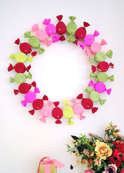 Oh Happy Day bon bon advent calendar wreath diy