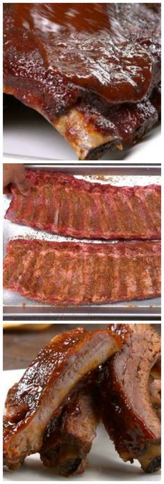 Oven Baked BBQ Ribs with Homemade Rib Rub & BBQ Sauce ~ Make fall-off-the-bone tender ribs in the oven with our melt-in-your-mouth homemade dry rub and easy bbq sauce recipe.0