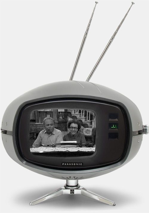 """Panasonic Orbitel TR-005 television - also known as the """"Flying Saucer"""" or """"The Eyeball"""" was a television set that was manufactured from the late 60's to early 70's. It had a five-inch screen, earphone jack, and could rotate 180 degrees on its chrome tripod."""