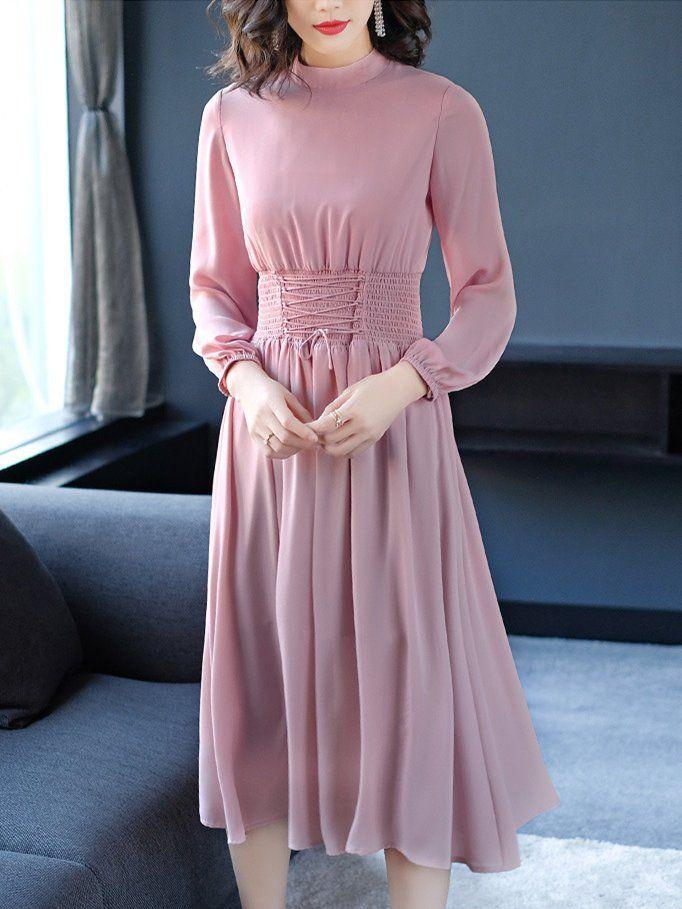 e8109d4e1d98 Stylewe Midi Dresses Stand Collar Blouson Daytime Dresses Long Sleeve  Shirred Solid Dresses